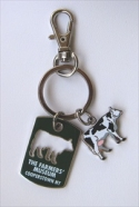 Dog Tag Keychain with Cow Charm