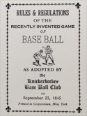 Knickerbocker Baseball Rules
